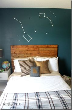 Star constellations for the kids' bunk room!  Could do in glow in the dark paint!