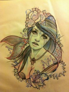 Mermaid sketch #drawing #tattoo #sea