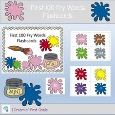 This is a set of the first 100 Fry Words on flash cards. You can print and laminate and use for whole class or small group work. Punch holes and put on a ring for easy storage and use. This set features a colorful paint splatter theme. Learning Activities, Teaching Resources, Teaching Ideas, Fry Words, Teaching Special Education, First Grade Reading, Card Storage, Group Work, Paint Splatter