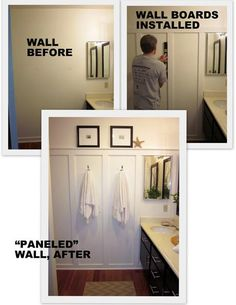 DIY Wall paneling. Do this on the wall with the towels and have hooks instead of a towel bar.