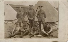 WW1-Group-Northumberland-Fusiliers-in-tented-extension-in-hutted-Camp