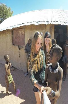 The himba village where the giraffe is living is located in Kamanjab, Namibia. This giraffe is tame and living with the traditional himba's. Giraffe, Couple Photos, Instagram Posts, Meet, Couple Shots, Felt Giraffe, Giraffes, Couple Photography, Couple Pictures