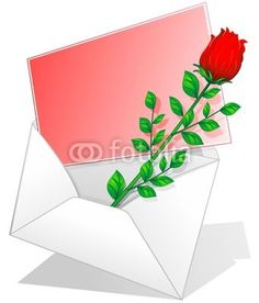 #Red #Rose on #Love #Letter-#Vector © bluedarkat