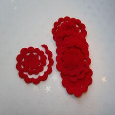 1 dozen red felt flower rosette DIY felt die cut out by WhimsyFelt