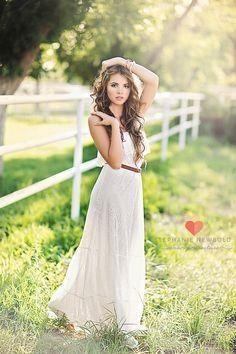 Pretty long white dress..