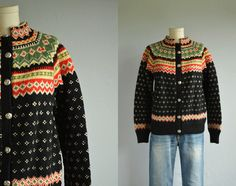 Vintage Norwegian Wool Fair Isle Cardigan / by zestvintage Fair Isle Knitting, Hand Knitting, Knitting Machine, Knitting Ideas, Norwegian Knitting, Fair Isle Pattern, Hand Knitted Sweaters, Wool Cardigan, Black Sweaters