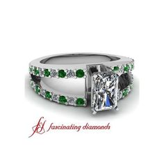 Pave Set Diamond Split Band Engagement Ring With Round & Emerald Green... ($1,100)