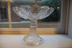 vintage american cut glass pedestal compote  Hobstar style unmarked Very Large approx age 1920s - 1930s