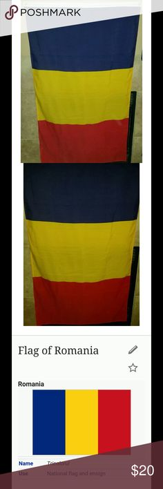 Flag of Romania 56 X 34 inches Thank you for viewing my listing, for sale is the country of Romania, tri-color flag.   Blue, yellow & red   Flag measurements are: 56 x 34 Other