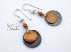 Boucles d'oreille Nacre Orange et Bronze en Argent 925.