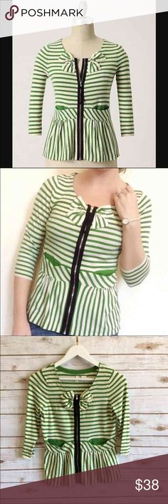 "ANTHROPOLOGIE Moth Striped Cardigan Beautiful!  ANTHROPOLOGIE - Moth brand Green Striped ""Four Petaled"" cardigan.  Size small Zip up Delicate and feminine No stains or rips  Looking please check out the rest of my closet. Anthropologie Sweaters Cardigans"