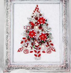KEEPSAKE VTG FRAMED RHINESTONE JEWELRY CHRISTMAS TREE RED POINSETTIA by frances