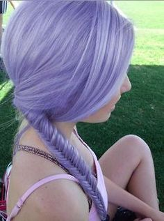 Lilac fishtail braid <3 I think this color would be nice to have. But idk if I can pull of bright hair colors...Like pastels and stuff