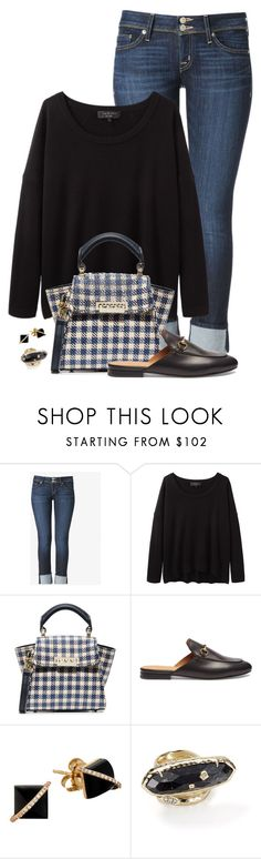 """Black, Denim & Mules"" by fashionista88 ❤ liked on Polyvore featuring Hudson Jeans, rag & bone, ZAC Zac Posen, Gucci, Madyha Farooqui, Kendra Scott, mules, gingham, cropjeans and fallcasual"