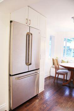 building around a counter depth fridge using ikea adel doors ge cafe fridge