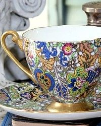 Rare Shelley Blue Paisley Chintz Pattern 14038 Tea Cup & Saucer-ripon, pink, green,england,bone china,orange, black, white, yellow,gilt, gold, hand painted,scallop, rim,chintzware