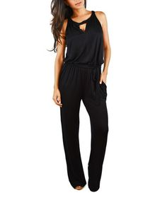 I have this.  Another great find on #zulily! Black Keyhole Tie-Waist Jumpsuit #zulilyfinds