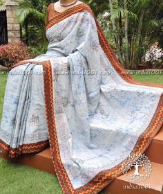 Designer Cotton Saree with Kasuti Work & Stitched borders