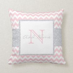 Unique Monogram Grey Pink Chevron Baby Girl Pillow Baby Pillows, Throw Pillows, Accent Pillows, Couch Pillows, Cushions, Monogram Gifts, Monogram Pillows, Personalized Gifts, Chevron Patterns
