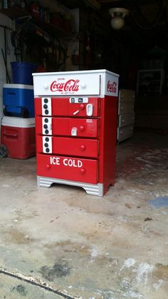 Coca-Cola dresser made from up cycle materials. Diy Furniture Easy, Country Furniture, Funky Furniture, Repurposed Furniture, Furniture Makeover, Painted Furniture, Furniture Ideas, Bedroom Furniture, Kitchen Furniture