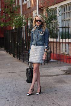 [J.Crew shirt + Alice+Olivia skirt] [Levi's denim jacket] [Chanel pin] [Stuart Weitzman shoes] [Chanel bag] [Karen Walker sunglasses] // 21 June 2012