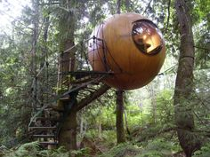 Free Spirit Sphere, by Tom Chudleigh.  Is this the greatest tree house ever, or what?