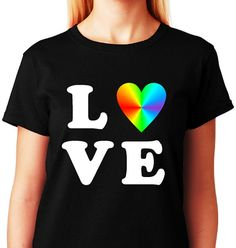 LOVE_LGBT Rainbow Heart Tshirt Collection_Black by ALLGayTees, $19.95
