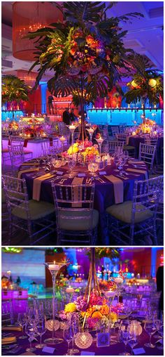 a tropical theme, this stunning Four Seasons Chicago Bat Mitzvah featured vibrant colors, unique lighting and an delectable dessert bar! Carnival Themed Party, Rio Carnival, Carnival Themes, Party Themes, Bat Mitzvah Themes, Bat Mitzvah Party, Bar Mitzvah, Beach Wedding Favors, Cool Wedding Cakes