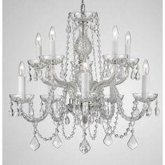 Crystal Chandelier Silver Light Fixture Dining Room Entrance Bedroom  #Transitional