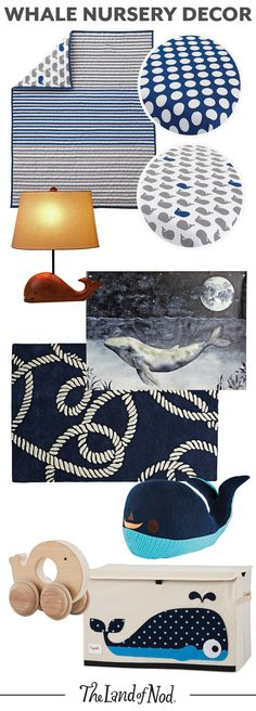 With The Land of Nod's whale nursery decor, your baby girl or boy's nursery will feel like a refreshing oceanic space. The whale-print bedding is perfect for a nautical room or any stylish themed room. Plus, don't forget toys, rugs, wall art pieces and toy boxes to finish off the room.