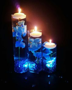 Wedding Centerpiece, Floating Candle Centerpiece with Blue Orchids and LED lights, Blue Wedding Decor, Bridal Shower Birthday Party Decor – Floating Candles İdeas. Floating Candle Centerpieces, Candle Wedding Centerpieces, Quinceanera Centerpieces, Centerpiece Flowers, Centerpiece Ideas, Water Beads Centerpiece, Royal Blue Centerpieces, Quince Decorations, Wedding Decorations