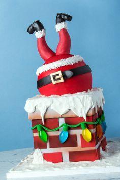 Christmas Cake Designs, Christmas Cake Pops, Christmas Desserts, Christmas Baking, Christmas Cookies, Santa Cake, Snowman Cake, Wedding Cakes With Flowers, Flower Cakes