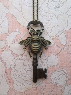 Steampunk Victorian Bee with Antique Skeleton Key Necklace from SteampunkBijoux on Etsy.