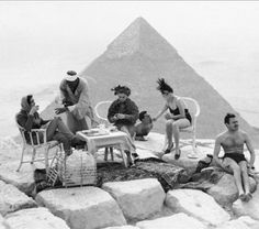 Tourists on Top of Great Pyramid, Gizeh, Egypt, c. 1938
