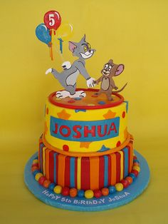 Check out these great ideas of beautiful children's birthday cakes. Here's a large gallery of Tom & Jerry cakes. Bolo Tom E Jerry, Tom And Jerry Cake, Tom Y Jerry, Boys 1st Birthday Cake, Happy 5th Birthday, 3rd Birthday Parties, Birthday Ideas, Birthday Banners, Birthday Crafts