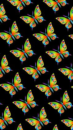 By Artist Unknown. Iphone Background Wallpaper, Apple Wallpaper, Kids Wallpaper, Black Wallpaper, Aesthetic Iphone Wallpaper, Butterfly Painting, Butterfly Flowers, Beautiful Butterflies, Butterfly Background