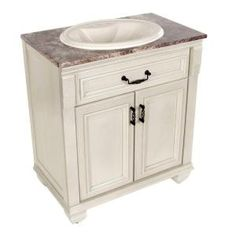 Classic 30 in. Vanity in Antique White with Stone Effects Top in Avalon-CL3018P2COM-AW at The Home Depot $370