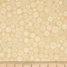Winter's Grandeur Metallic Small Medallions Natural from @fabricdotcom  Designed by Studio RK for Robert Kaufman, this cotton print features metallic foil printing throughout and is perfect for quilting, apparel and home decor accents.  Colors include cream, shades of beige and metallic silver.