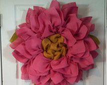 2 Pink Flower Burlap Wreaths // Front Door Wreaths // Pink Daisy Wreath // Spring Wreath // Mother's Day Gift Idea