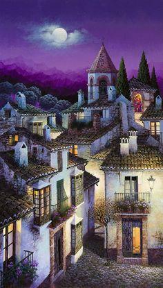 Night through alleys.  Nocturno entre callejas.