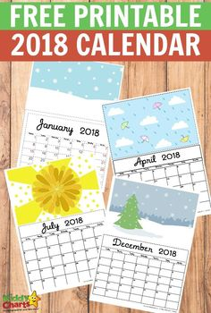Free printable 2018 Calendar - time to get organised and print out this free calendar. Wonderful illustrations and plenty of room for your activities too.