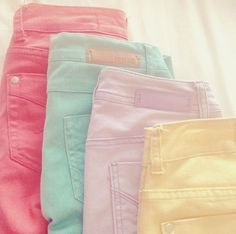 """Pretty pastel jeans! Pastel colours are a family of colours who have a high value and low to intermediate saturation. Key words to describe this colour family are """"soothing, soft, near neutral, milky, washed out, desaturated."""