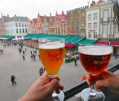 Drinking beers at the duvelorium in Bruges