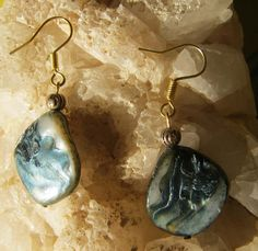 Beautiful Handmade Gold Hook Earrings with Blue Seashell What do you think about these earrings? Please tell me, thank you ;-) You can find these earrings here and other beautiful Jewelry & Acc...