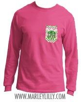 Monogrammed Pocket Long Sleeve Crew T-Shirt