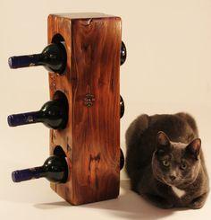 Wine rack -reclaimed wood bottle holder - wood beam wine storage