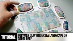 Polymer clay Undersea Landscape or Coral Reef -- Layers of translucent clay and a variety of techniques are used to build up an undersea landscape with visual depth. Polymer Clay Ornaments, Polymer Clay Christmas, Polymer Clay Canes, Polymer Clay Flowers, Polymer Clay Necklace, Polymer Clay Pendant, Handmade Polymer Clay, Polymer Clay Kunst, Polymer Clay Projects