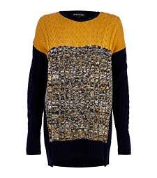River Island Navy colour block cable knit tunic £20.00