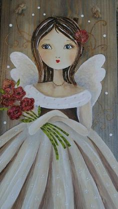 Angel Drawing, I Believe In Angels, Angel Crafts, Angel Pictures, Arte Popular, Angel Art, Whimsical Art, Fabric Painting, Cute Drawings