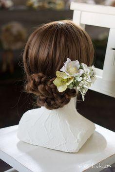 ホワイト×グリーン ローズ ナチュラル ヘッドドレス head dress